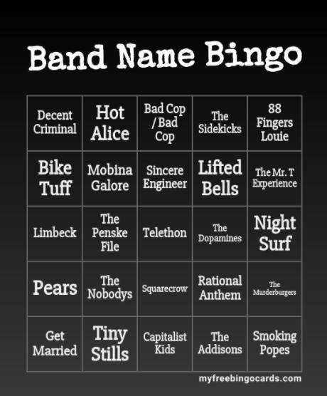 Band Name Bingo Card